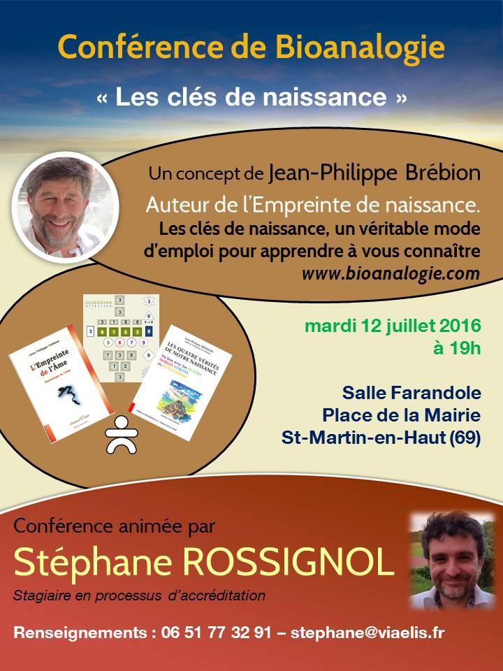 Conférence Les clés de naissance Saint-Martin-en-Haut - 12 juillet