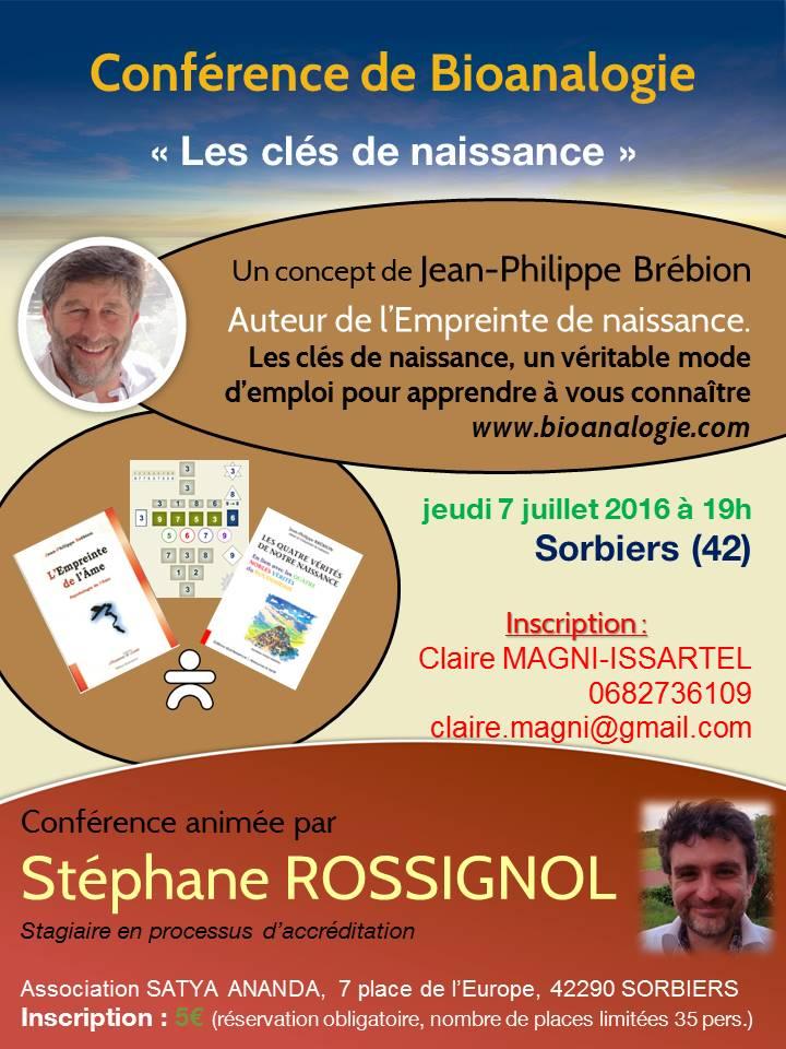 """Conférence Sorbiers """"Clés de naissance"""" du 07 juillet"""