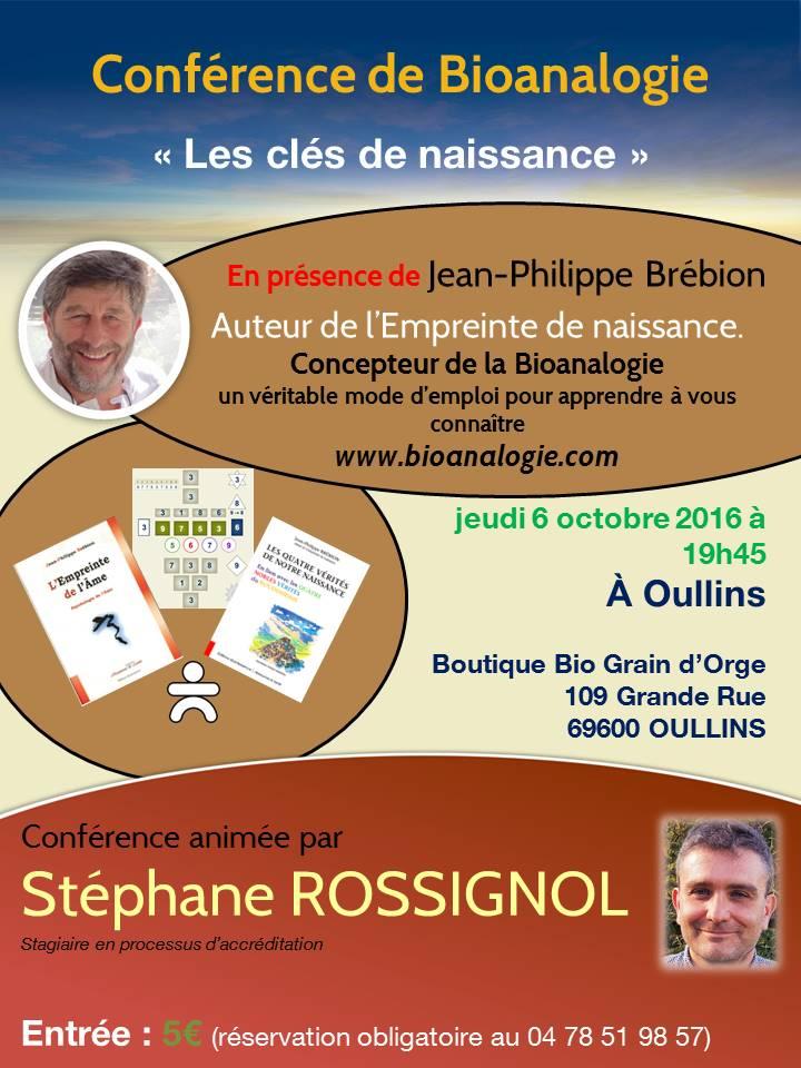 Conférence Oullins-6 octobre 2016  - Clés de Naissance - Bioanalogie